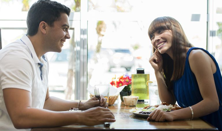 Hispanic couple eating together at cafe