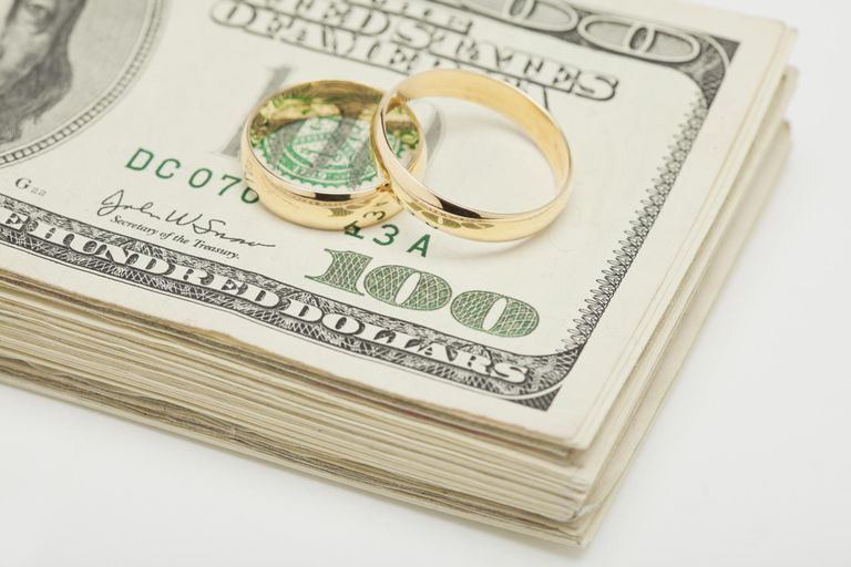 Studio shot of wedding rings on wad of banknotes