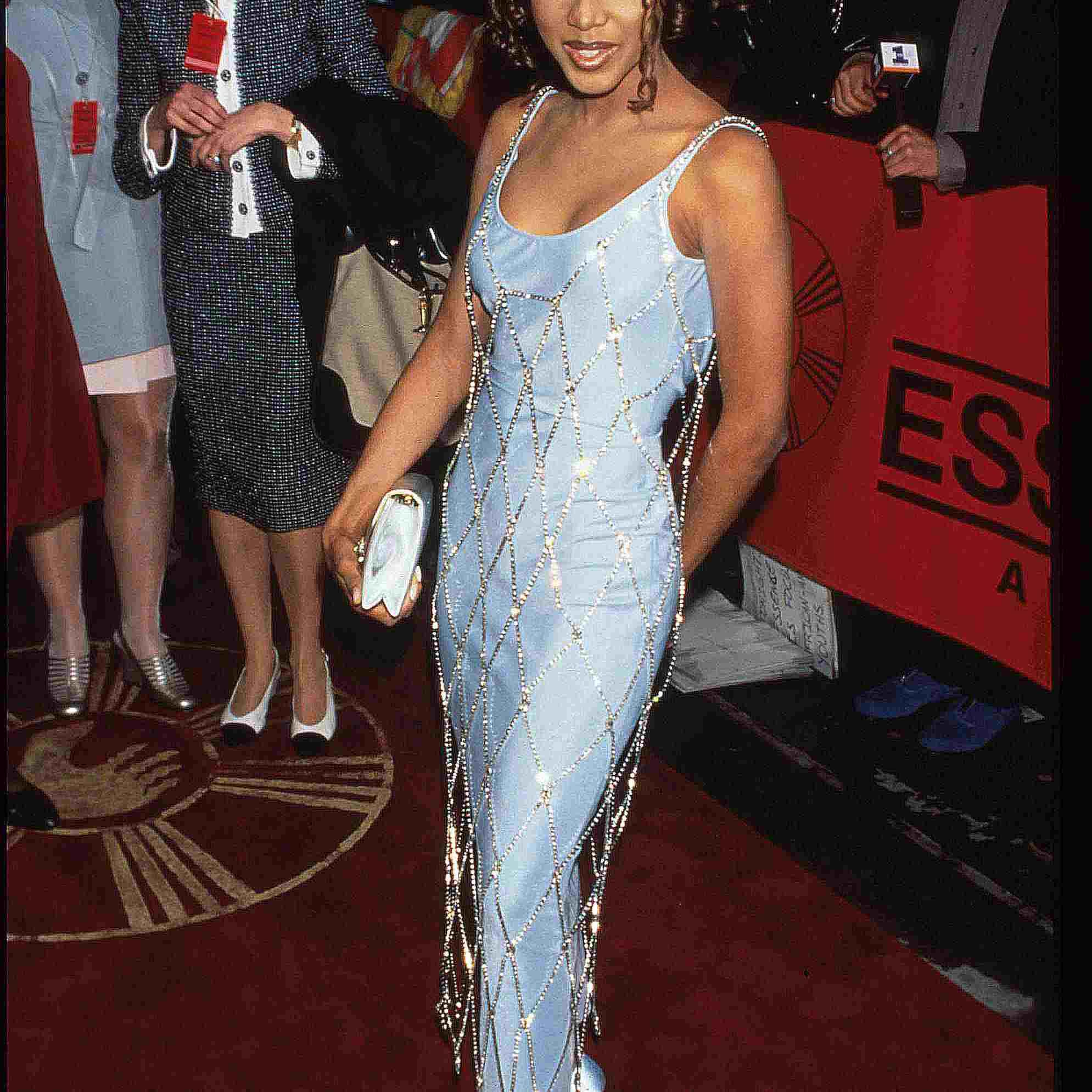 Toni Braxton in a light blue dress