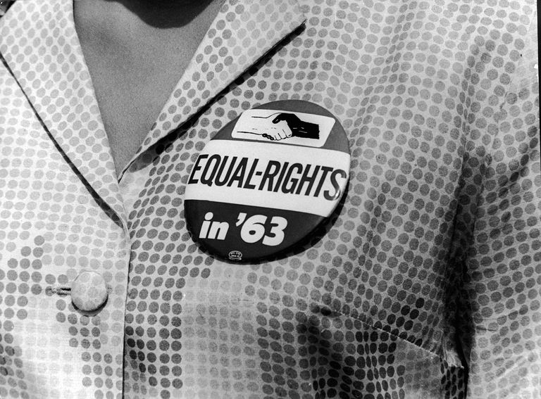 Woman Wearing a March on Washington Button
