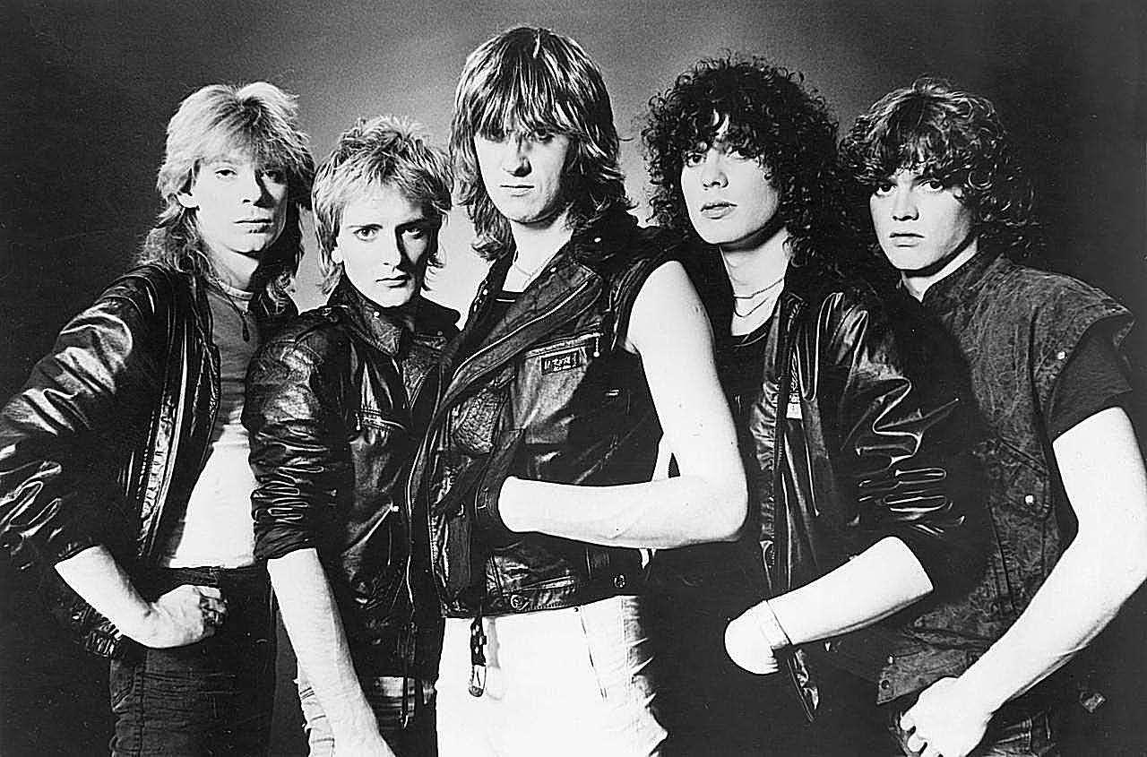 Def Leppard, from left to right: Steve Clark, Rick Savage, Joe Elliott, Pete Willis, Rick Allen.