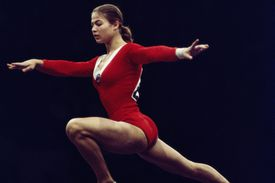 Ludmilla Tourischeva performs on the beam during the first World Cup of Artistic Gymnastics in 1975