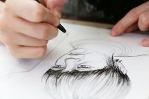 Sketch artist working on a drawing