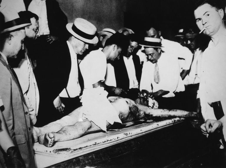 John Dillinger's body in Cook County Morgue, July 1934