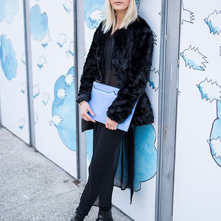 Street style faux fur jacket and jeans