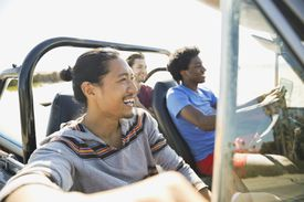 Male friends enjoying road trip