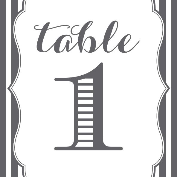 Gray and white wedding table number.