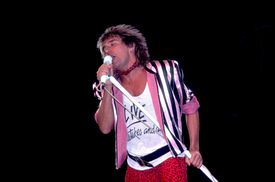 Already legendary British rock singer Rod Stewart performs live in the U.S. during a 1982 tour.