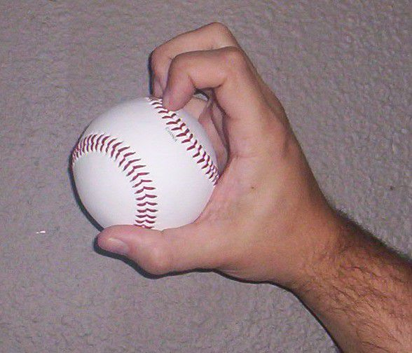The most common way to grip a knuckleball
