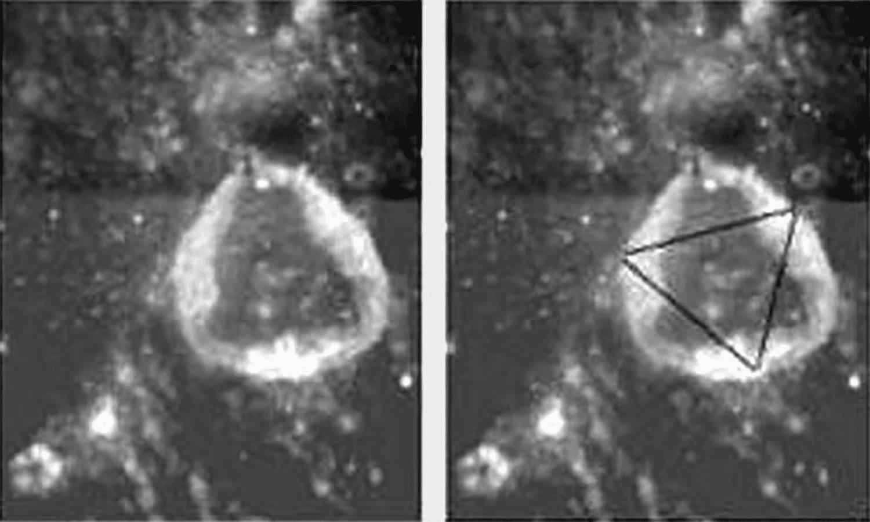A strange triangle shape in a lunar crater.