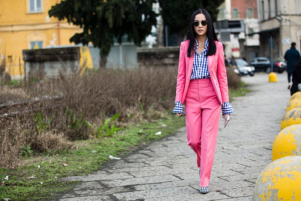 Street style pink pantsuit for women with gingham print shirt