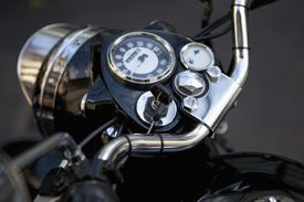 Motorcycle dashboard with keys in the ignition