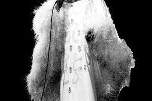 Singer Celia Cruz in Paris, France.