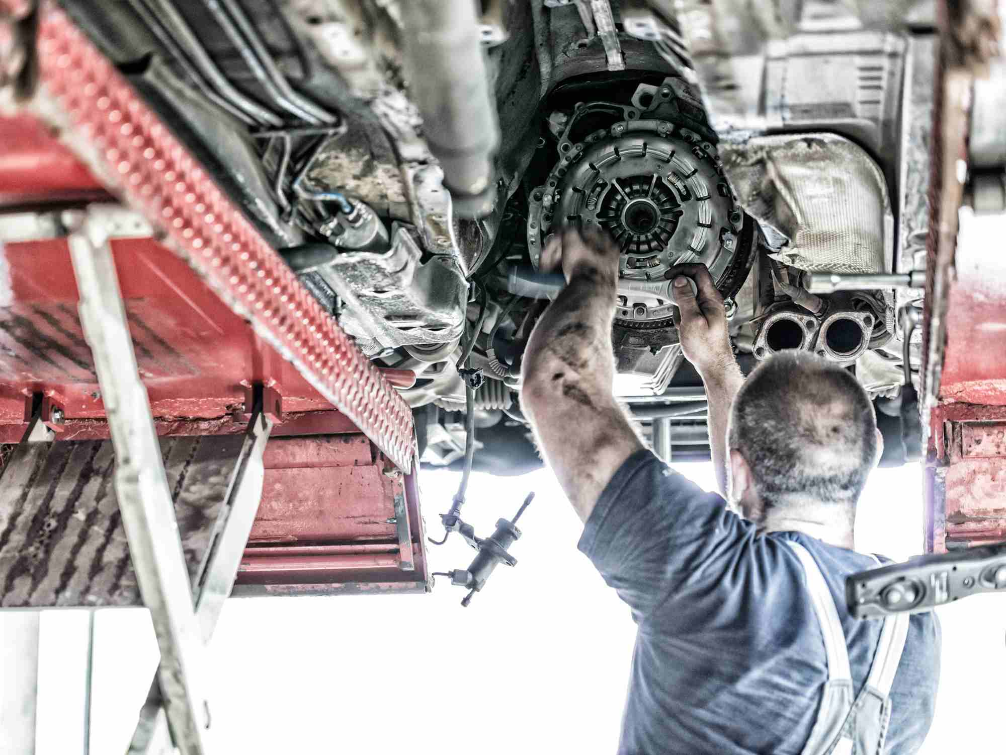 technician working on clutch
