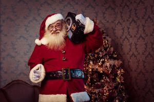 Santa listening to a boom box