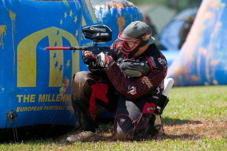 Paintball player in full outfit