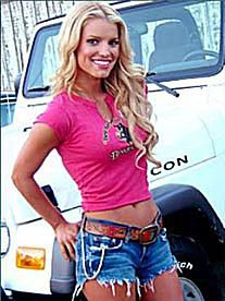 Jessica Simpson as Daisy Duke & her Jeep
