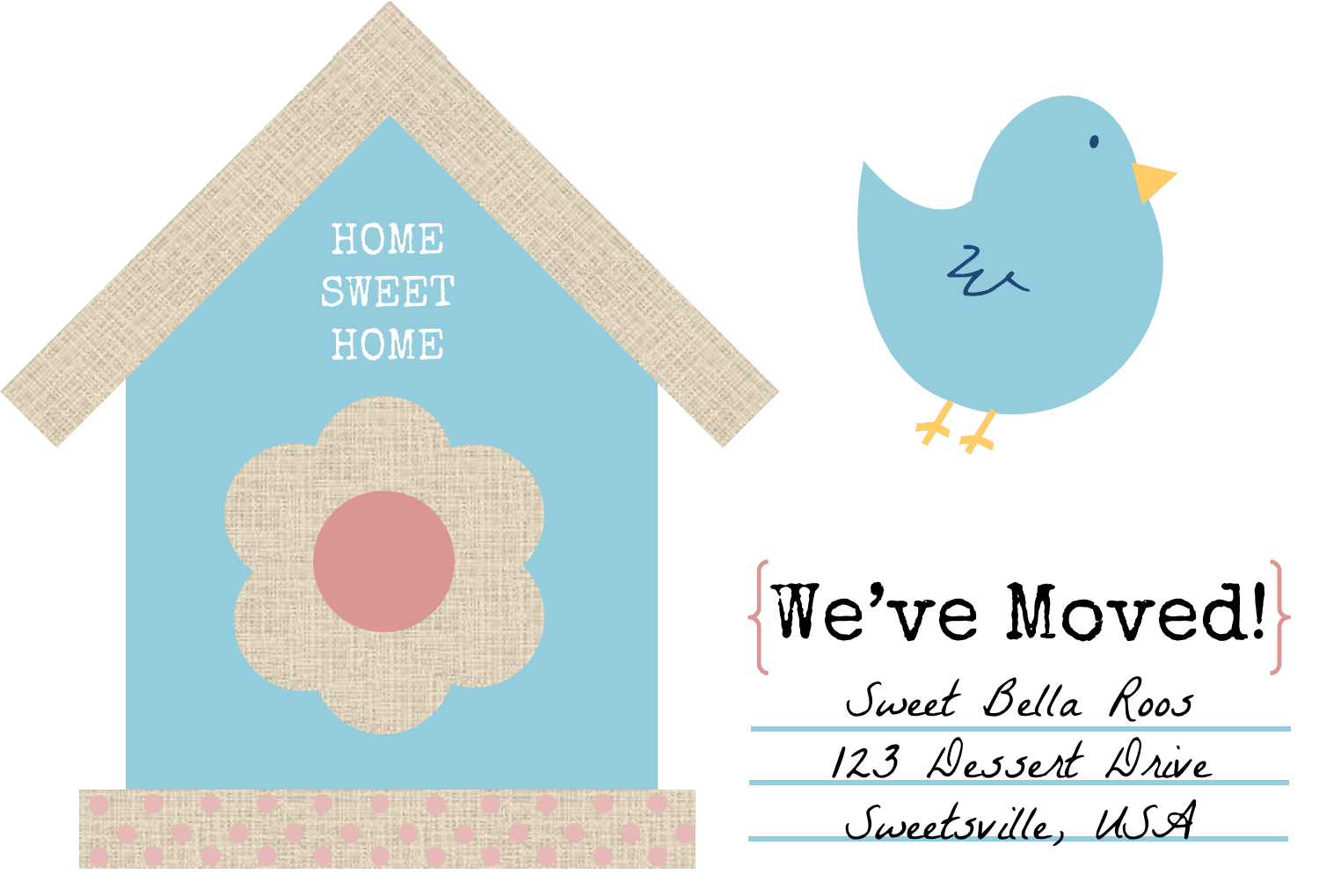 A change of address card with a bird and birdhouse