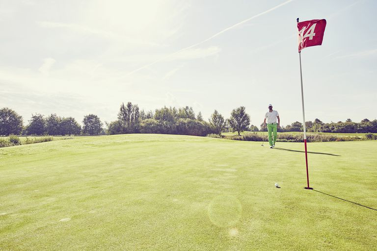 Golfer Playing Golf, Near 14th Hole, Korschenbroich, Dusseldorf, Germany