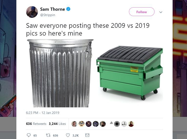 A screenshot of a 10 year challenge meme from Twitter.