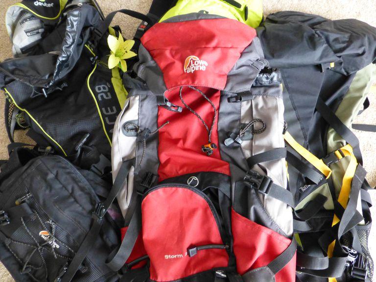 three hiking backpacks