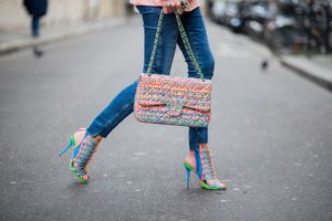 Colorful high heels and jeans street style fashion