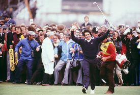 Seve Ballesteros of Spain celebrates on the 18th fairway on his way to victory in the British Open at Royal Lytham St Annes in Lancashire, England in 1979