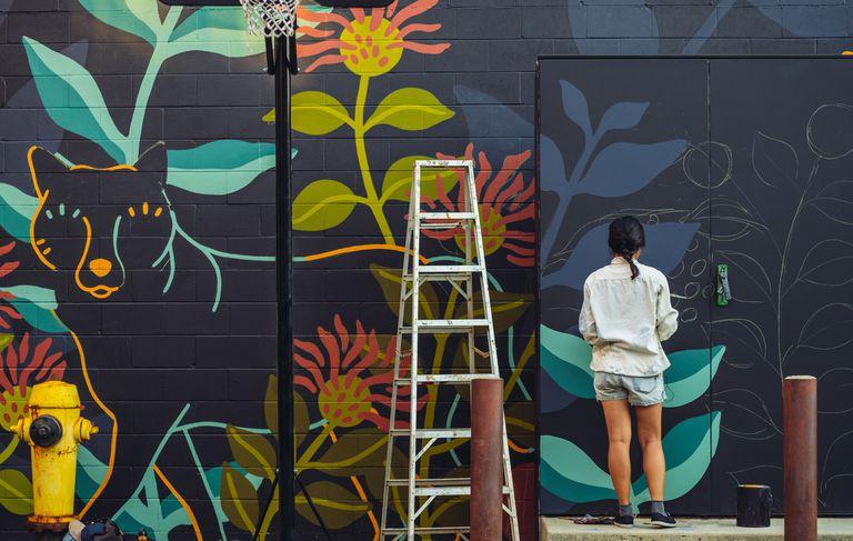 Mural artist at work