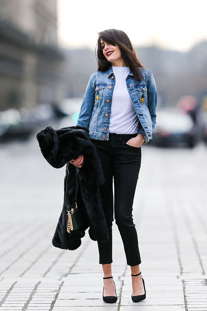 9e6c0131e65 Daytime Look  Denim Jacket and Black Skinny Jeans
