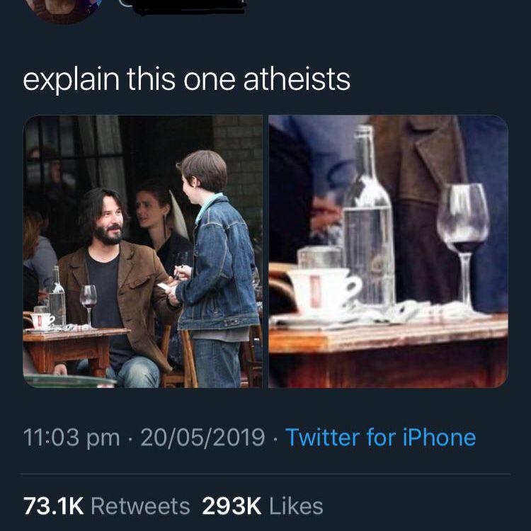 Keanu Reeves seemingly turning water into wine