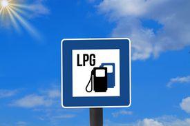 LPG sign against sky