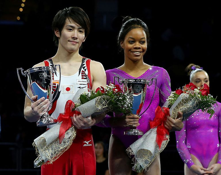 Gabby Douglas and Ryohei Kato at the 2016 American Cup