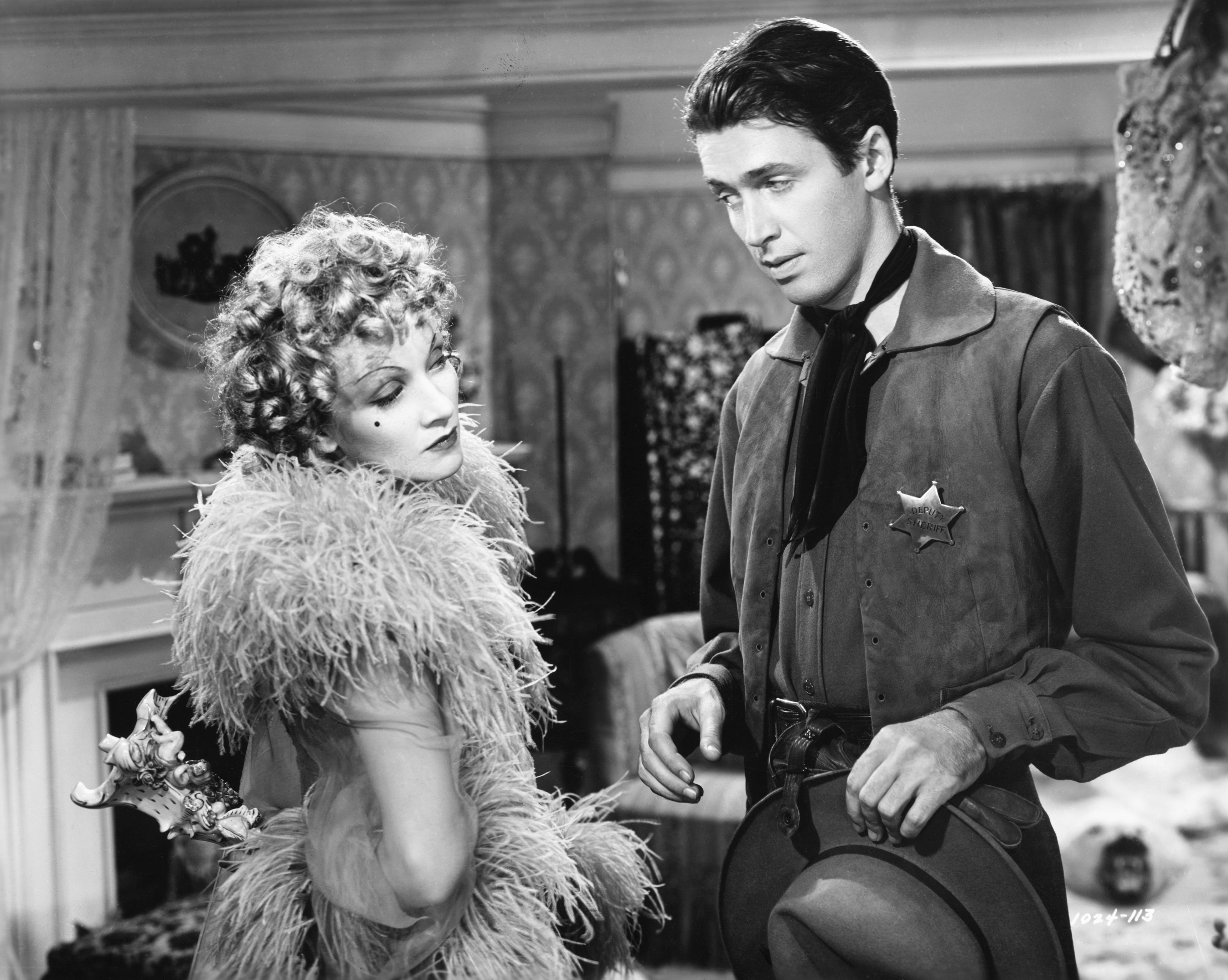 Dietrich and Stewart in Destry Rides Again