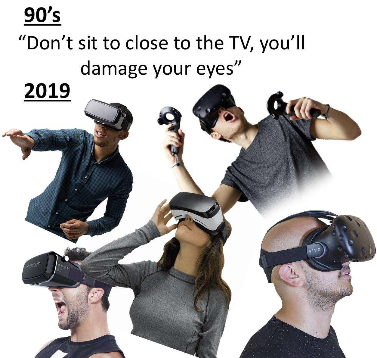 millennials wearing virtual reality glasses