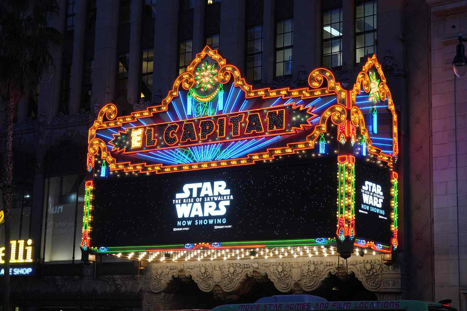 The marquee of Hollywood's El Capitan Theatre during the premiere of the 2019 film Star Wars: The Rise of Skywalker