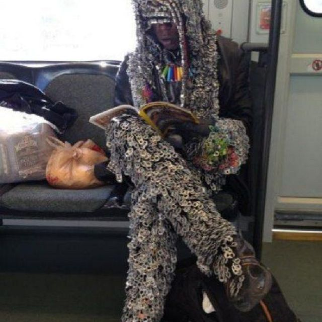 recycled clothing on subway