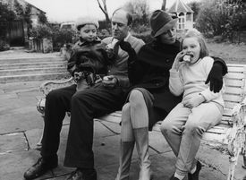 Roald Dahl with his wife, Patricia Neal, and two of their children in 1963.