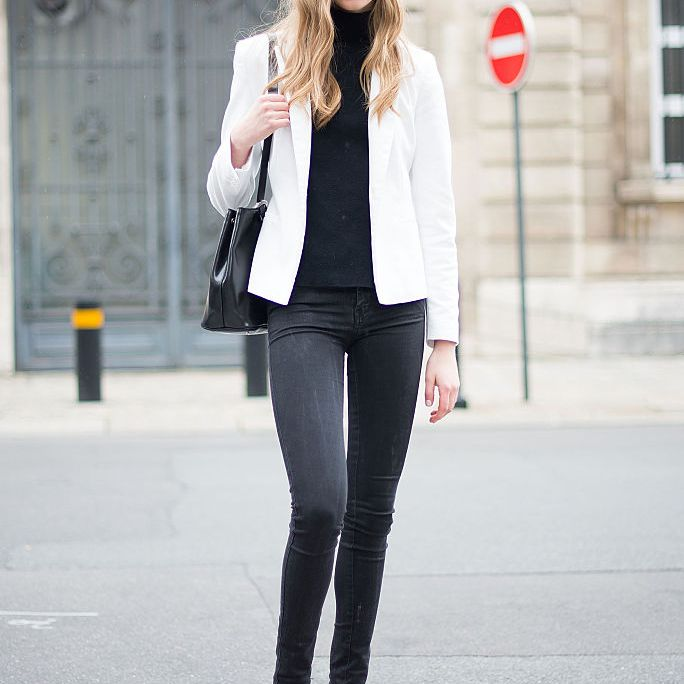 White blazer and black jeans and sweater outfit for women