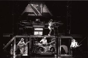 British arena rock supergroup Asia perform live in Germany in 1982 [L-R Steve Howe (guitar), Carl Palmer (drums), Geoff Downes (keyboards), John Wetton (bass, lead vocals).