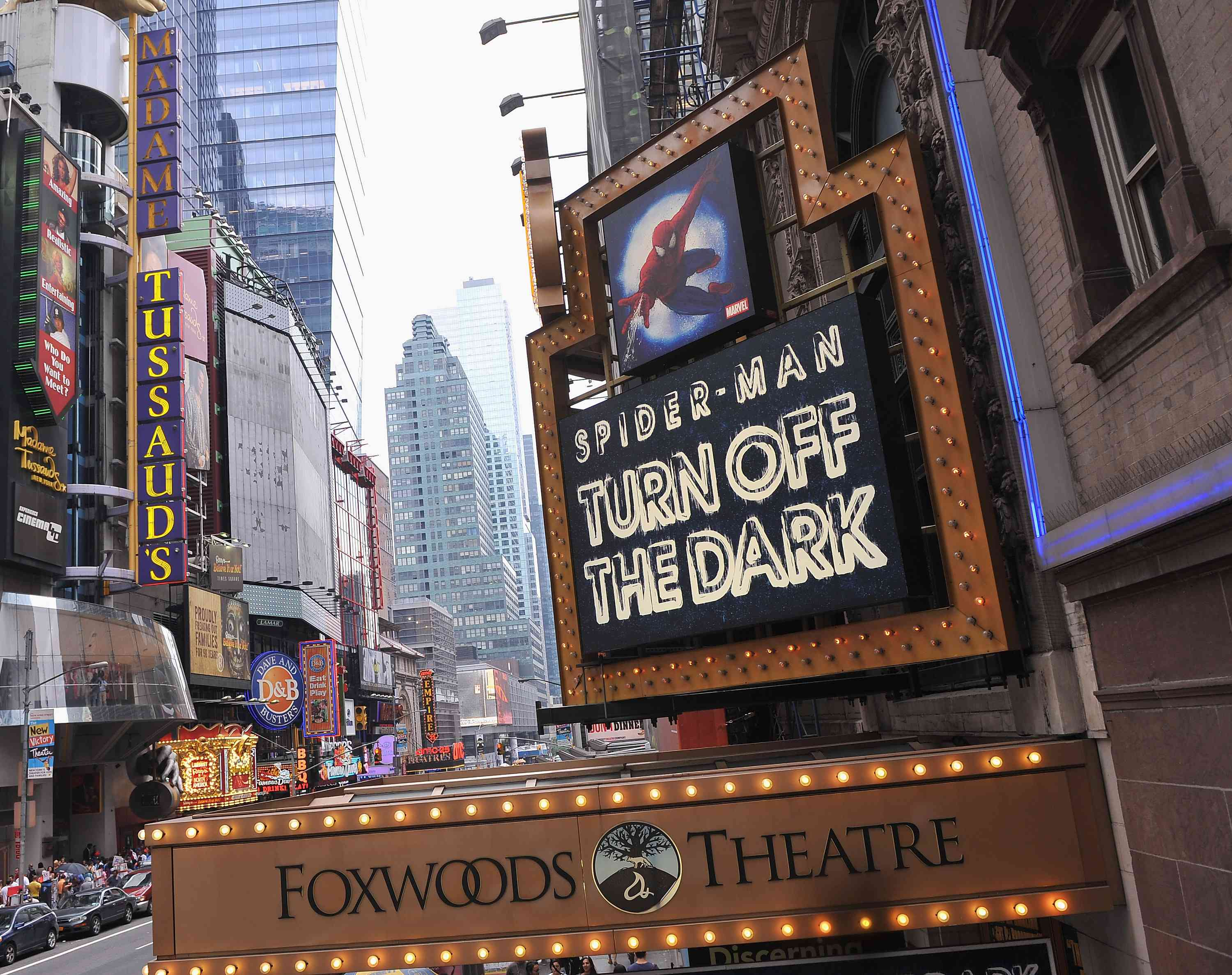 The marquee for Spider-Man: Turn Off The Dark