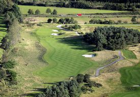 Aerial view of the par-4 15th hole at Gleneagles