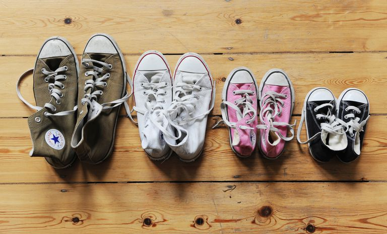 Four pairs of shoes in descending size