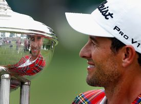 Adam Scott of Australia poses with the after winning the 2014 Crowne Plaza Invitational at Colonial