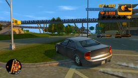 A car jumps a curb in GTA 3 Remastered