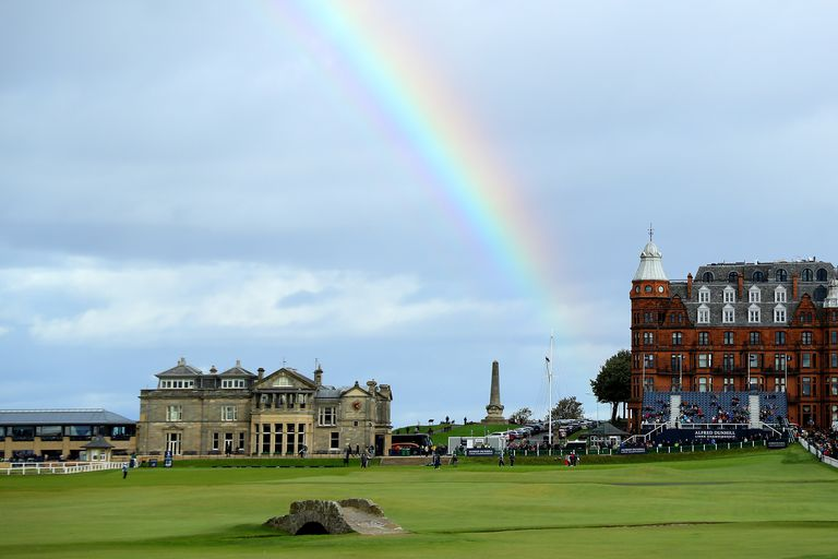 18th hole of The Course at St. Andrews, the golf course that has hosted the most Opens.