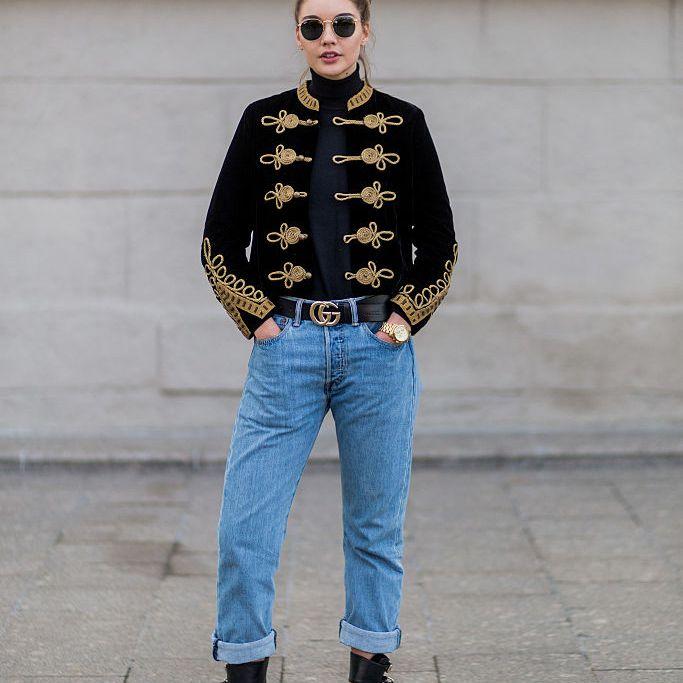 Street style military jacket boyfriend jeans