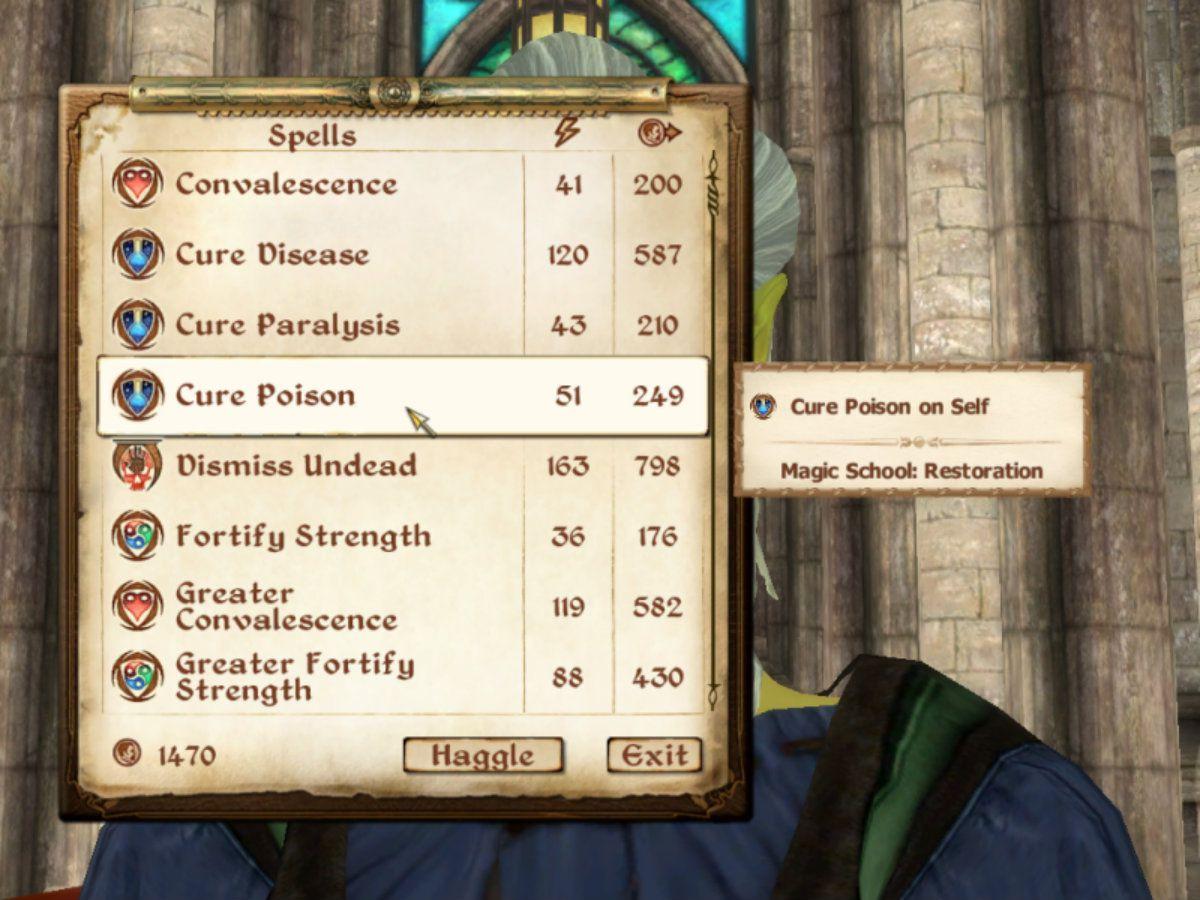 Spells list in Elder Scrolls Oblivion