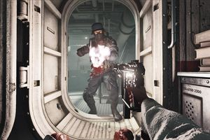 B.J. Blazkowicz exchanges fire with a Nazi in Wolfenstein 2 on PS4.