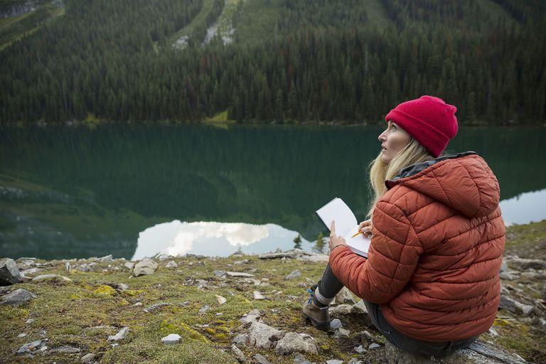 Woman Sketching at Remote Lakeside