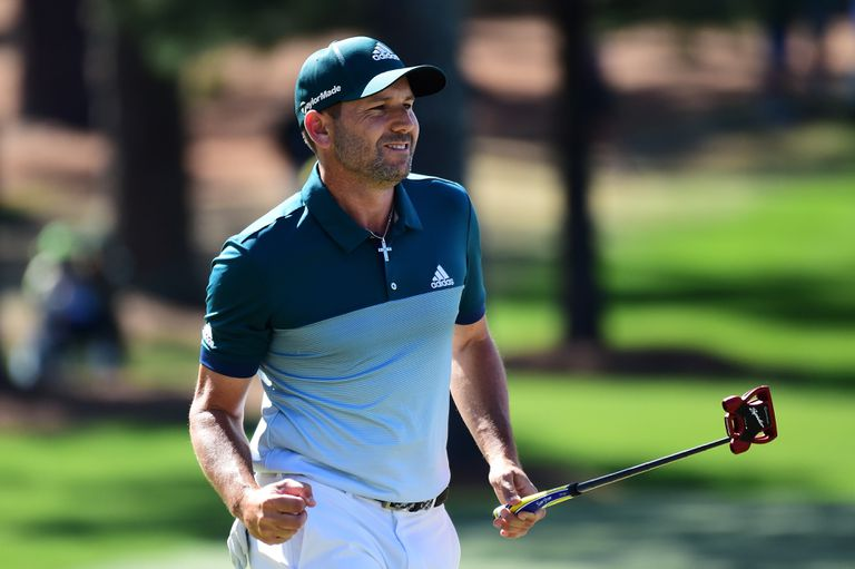 Sergio Garcia reacts after saving par with a putt during The Masters Tournament in 2017.